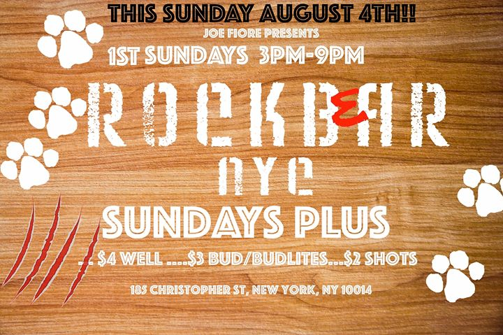 Rockbear PLUS Sunday Beer Blast! Sunday Aug 4th in New York le Sun, June  7, 2020 from 03:00 pm to 09:00 pm (After-Work Gay)