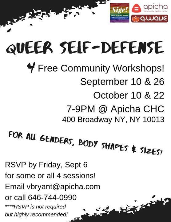 Queer Self-Defense Workshops! en Nueva York le mar 10 de septiembre de 2019 19:00-21:00 (Curso práctico Gay, Lesbiana, Trans, Bi)