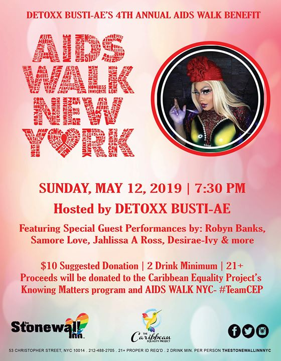 Detoxx Bústi-ae's 4th Annual AIDS WALK NY Benefit in New York le So  3. Mai, 2020 19.30 bis 22.00 (After-Work Gay, Lesbierin, Transsexuell, Bi)