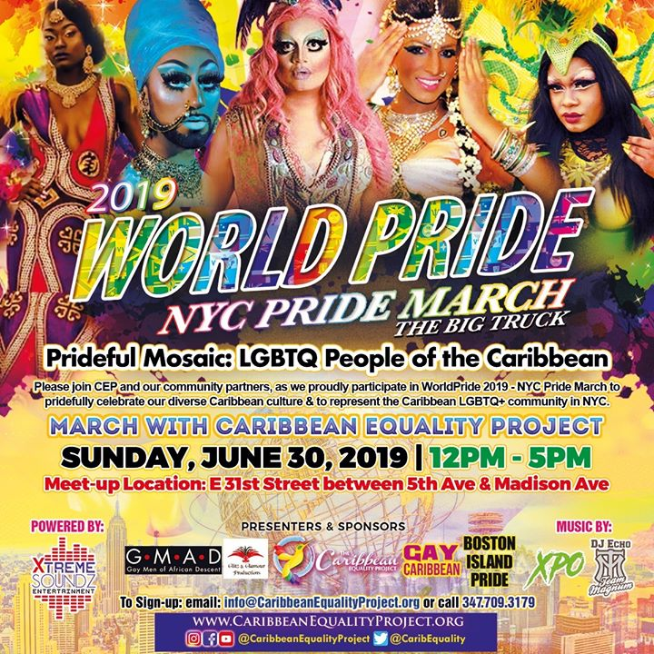 WorldPride 2019 - March with Caribbean Equality Project a New York le dom 30 giugno 2019 11:00-17:00 (Parate / Sfilate Gay, Lesbica, Trans, Bi)