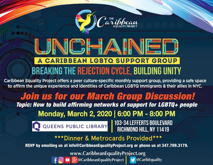 Unchained: A Caribbean LGBTQ Immigrant Support Group in New York le Mon, April  6, 2020 from 06:00 pm to 08:00 pm (Meetings / Discussions Gay, Lesbian, Trans, Bi)