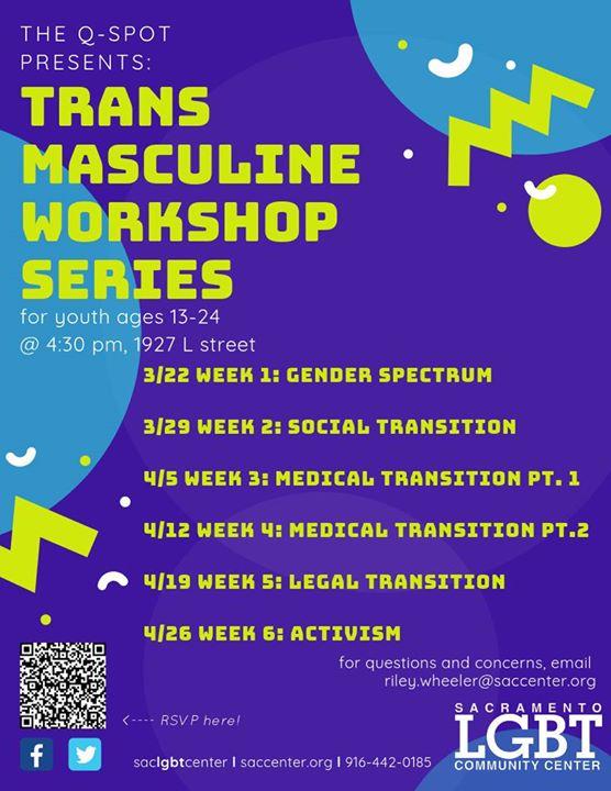 Trans Masculine Workshop Series à Sacramento le ven. 26 avril 2019 de 16h30 à 17h30 (Atelier Gay, Lesbienne, Trans, Bi)