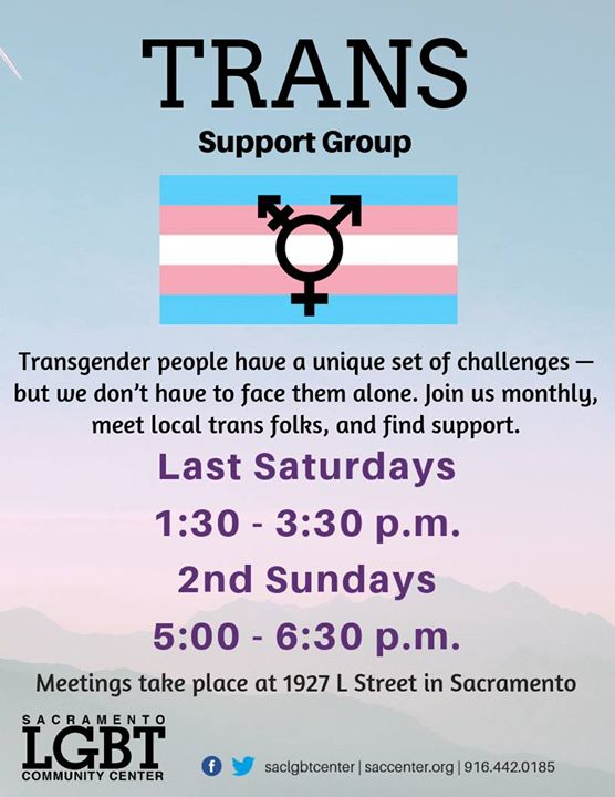 Trans Support Group à Sacramento le dim. 12 janvier 2020 de 17h00 à 18h30 (Rencontres / Débats Gay, Lesbienne, Trans, Bi)