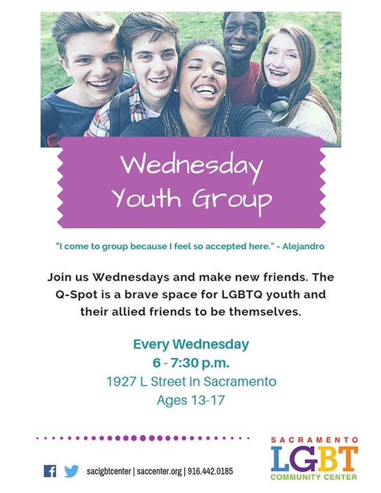 Wednesday Youth Group (Ages13-17) in Sacramento le Wed, August 21, 2019 from 06:00 pm to 07:30 pm (Meetings / Discussions Gay, Lesbian, Trans, Bi)