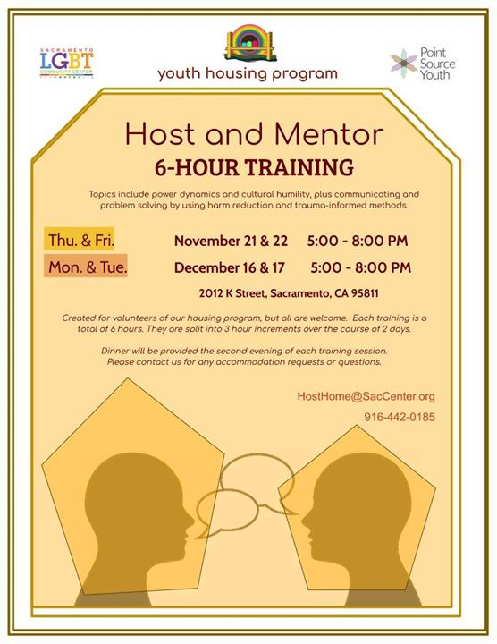 Host Home Training Dates! a Sacramento le mar 17 dicembre 2019 17:00-20:00 (Incontri / Dibatti Gay, Lesbica, Trans, Bi)