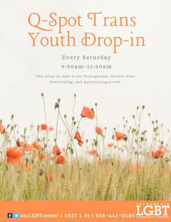 Trans Youth Drop-in à Sacramento le sam. 24 août 2019 de 09h30 à 11h30 (Rencontres / Débats Gay, Lesbienne, Trans, Bi)