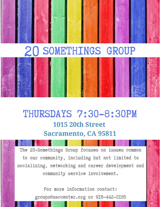 20 Somethings Group in Sacramento le Thu, February 20, 2020 from 07:30 pm to 08:30 pm (Meetings / Discussions Gay, Lesbian, Trans, Bi)