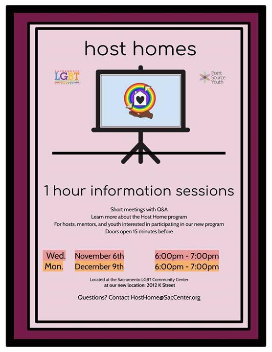 Host Home Informational Sessions à Sacramento le lun.  9 décembre 2019 de 18h00 à 19h00 (Rencontres / Débats Gay, Lesbienne, Trans, Bi)