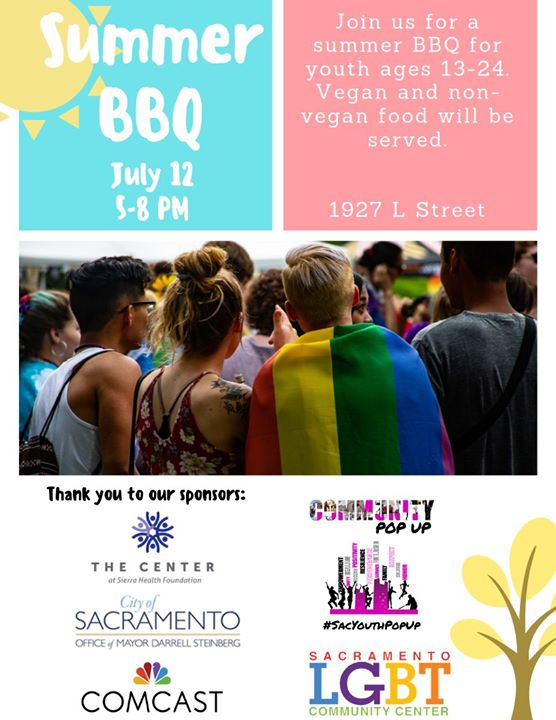 Youth Summer BBQ in Sacramento le Fri, July 12, 2019 from 05:00 pm to 08:00 pm (Meetings / Discussions Gay, Lesbian, Trans, Bi)