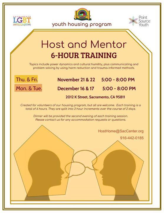 Host Home Training Dates! à Sacramento le ven. 22 novembre 2019 de 17h00 à 20h00 (Rencontres / Débats Gay, Lesbienne, Trans, Bi)