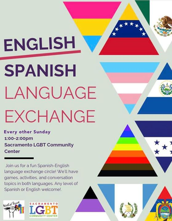 Spanish/English Language Exchange à Sacramento le dim. 16 février 2020 de 13h00 à 14h30 (Atelier Gay, Lesbienne, Trans, Bi)