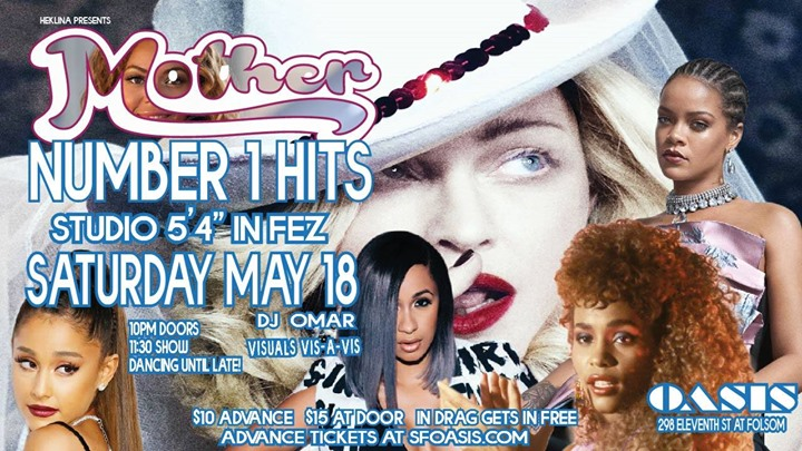 "Mother: ""Number 1 Hits"" + Studio 5'4"" , Roma Roast After-Party! in San Francisco le Sa 18. Mai, 2019 22.00 bis 03.00 (Clubbing Gay)"