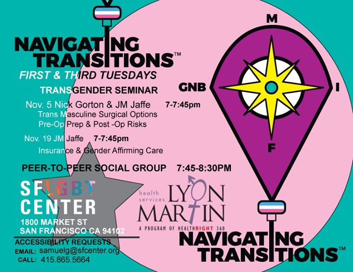 Navigating Transitions in San Francisco le Tue, November  5, 2019 from 07:00 pm to 08:30 pm (Meetings / Discussions Gay, Lesbian, Trans, Bi)