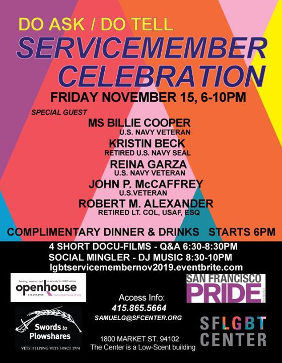 Servicemember Celebration (Do Ask/Do Tell) in San Francisco le Fri, November 15, 2019 from 06:00 pm to 10:00 pm (Meetings / Discussions Gay, Lesbian, Trans, Bi)