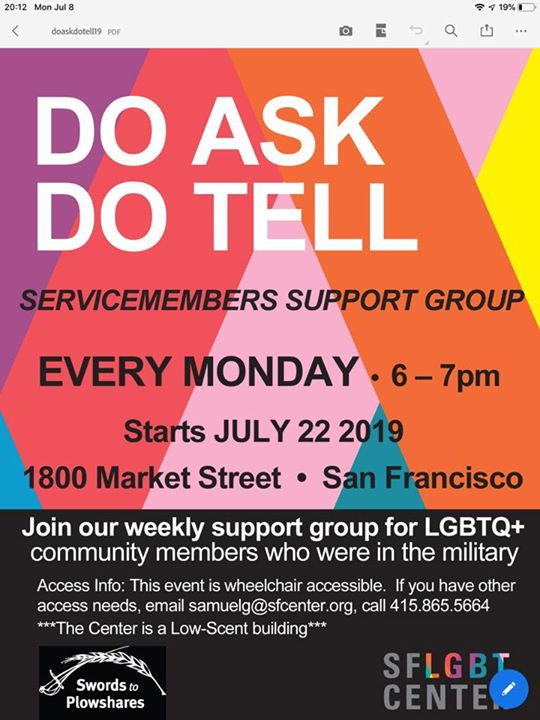 Do Ask! Do Tell! in San Francisco le Mon, December  9, 2019 from 06:00 pm to 07:00 pm (Meetings / Discussions Gay, Lesbian, Trans, Bi)
