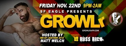 GROWLr a San Francisco le ven 22 novembre 2019 21:00-02:00 (Clubbing Gay, Orso)