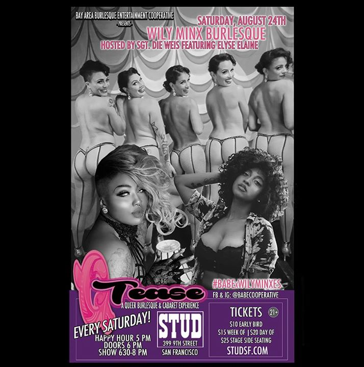 Tomorrow Night! - BABExWilyMinxes QTease at the Stud in San Francisco le Sat, August 24, 2019 from 06:00 pm to 08:00 pm (Clubbing Gay)