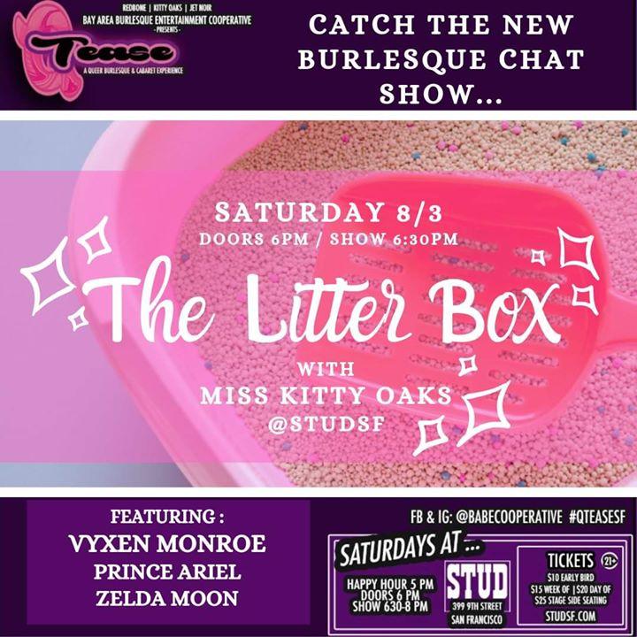 "8/3 - ""The Litter Box"" #QTease at the Stud à San Francisco le sam.  3 août 2019 de 18h00 à 20h00 (After-Work Gay)"
