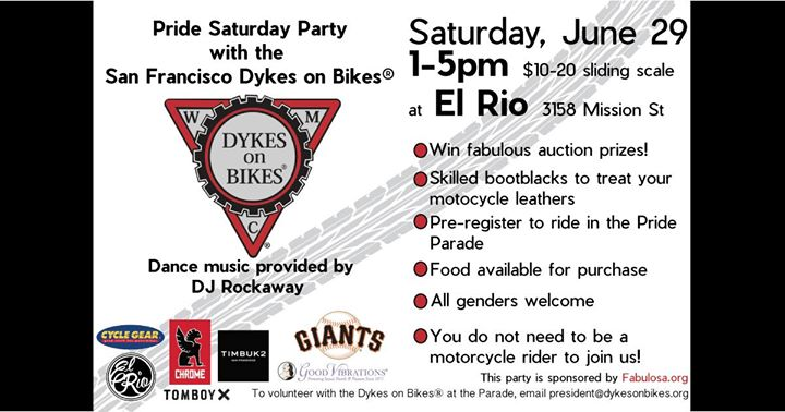SF Dykes on Bikes® Pride Saturday Party! in San Francisco le Sa 29. Juni, 2019 13.00 bis 17.00 (Festival Gay)