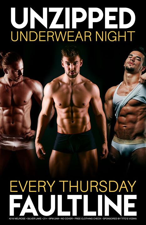 Unzipped Underwear Night - July 11 in Los Angeles le Thu, July 11, 2019 from 09:00 pm to 02:00 am (Clubbing Gay, Bear)