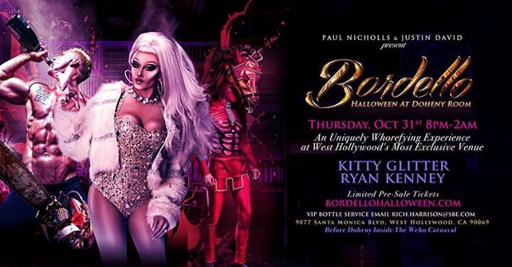 Bordello Halloween Featuring DJ Kitty Glitter & Ryan Kenny in Los Angeles le Thu, October 31, 2019 from 08:00 pm to 02:00 am (Clubbing Gay)