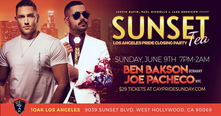 Sunset TEA ★ La PRIDE Closing Party at 1OAK à Los Angeles le dim.  9 juin 2019 de 19h00 à 02h00 (Clubbing Gay)