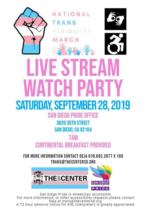 National Transgender March Watch Party in San Diego le Sat, September 28, 2019 from 07:00 am to 10:00 am (Festival Gay, Lesbian)