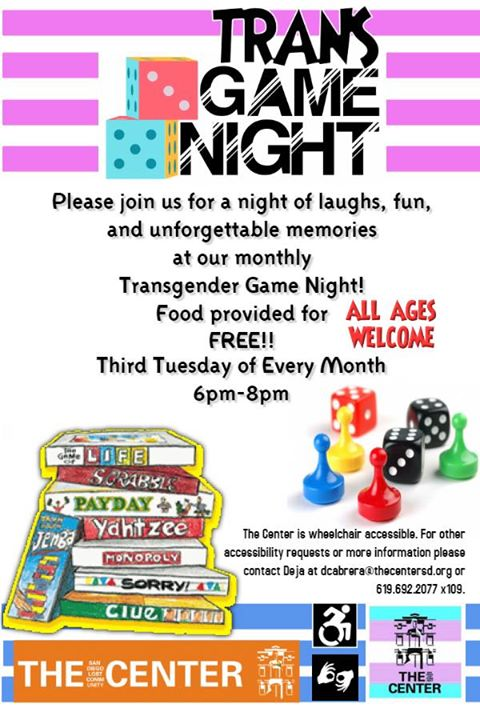 Trans Game Night! à San Diego le mar. 20 août 2019 de 18h00 à 20h30 (After-Work Gay, Lesbienne)