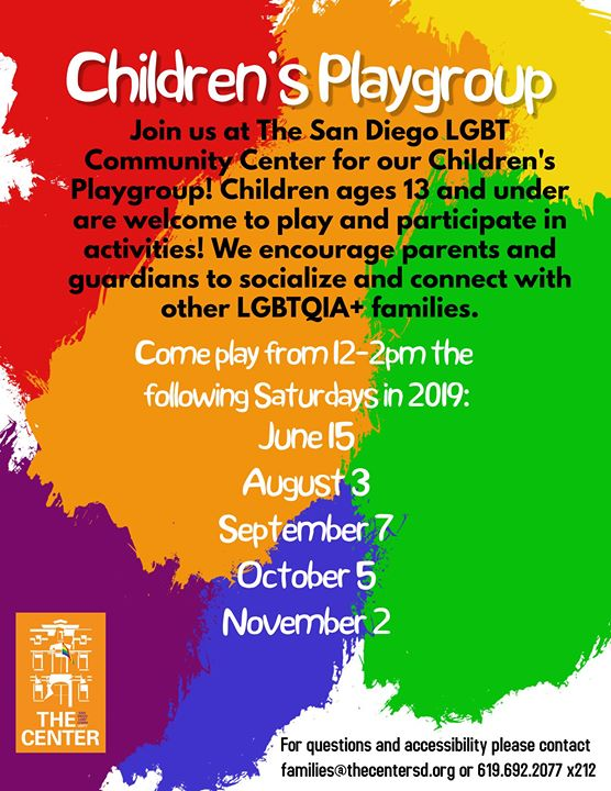Children's Playgroup! (13 and under) in San Diego le Sat, September  7, 2019 from 12:00 pm to 02:00 pm (Meetings / Discussions Gay, Lesbian)