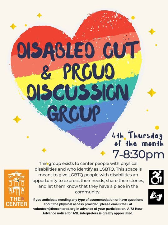 Disabled OUT & Proud Discussion Group in San Diego le Thu, August 22, 2019 from 07:00 pm to 08:30 pm (Meetings / Discussions Gay, Lesbian)