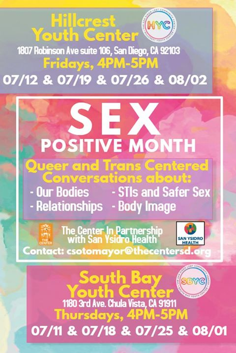Sex-Positive Month at the Hillcrest Youth Center & SBYC! à San Diego le ven. 26 juillet 2019 de 16h00 à 17h00 (Rencontres / Débats Gay, Lesbienne)