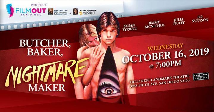 Butcher, Baker, Nightmare Maker en San Diego le mié 16 de octubre de 2019 19:00-21:30 (Cine Gay, Lesbiana, Trans, Bi)