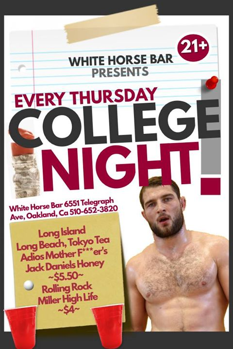 Thursday College NIGHT in Oakland le Do 15. August, 2019 20.00 bis 02.00 (Clubbing Gay)