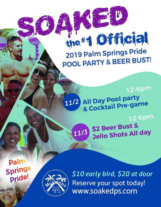 Soaked! Pool Party & Beer Bust en Palm Springs le sáb  2 de noviembre de 2019 12:00-18:00 (Clubbing Gay, Lesbiana, Trans, Bi)