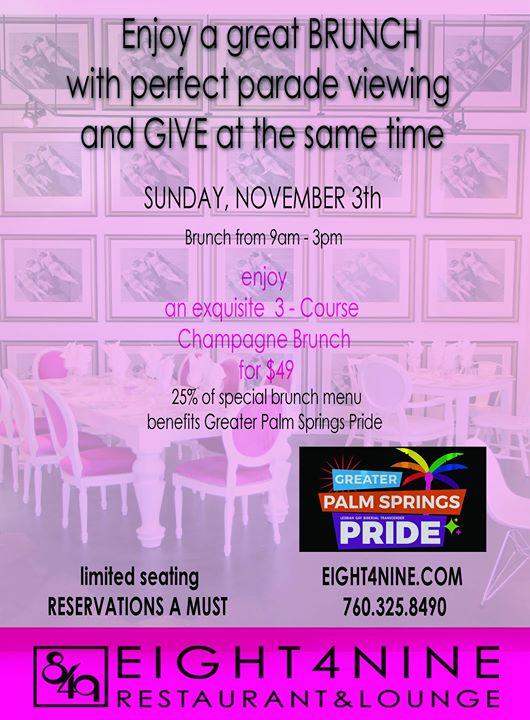 Champagne Brunch and Parade Viewing Party en Palm Springs le dom  3 de noviembre de 2019 09:00-15:00 (Brunch Gay, Lesbiana, Trans, Bi)