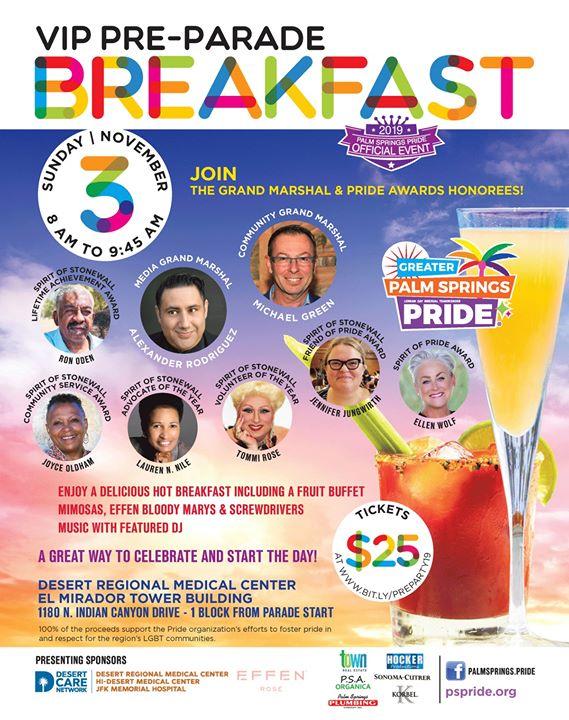 Pre-Parade VIP Breakfast en Palm Springs le dom  3 de noviembre de 2019 08:00-09:45 (Festival Gay, Lesbiana, Trans, Bi)