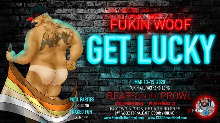 Get Lucky - Bears on the Prowl 2020 en Cathedral City del 13 al 15 de marzo de 2020 (Festival Gay)
