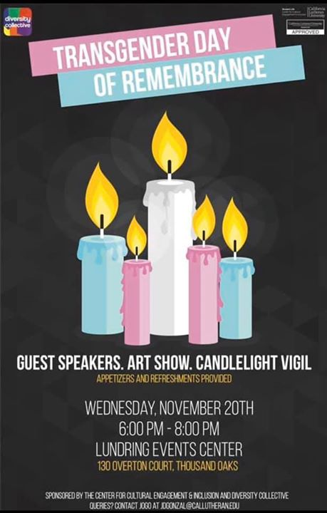 Transgender Day of Remembrance VC in Thousand Oaks le Wed, November 20, 2019 from 06:00 pm to 08:00 pm (Meetings / Discussions Gay, Lesbian, Trans, Bi)