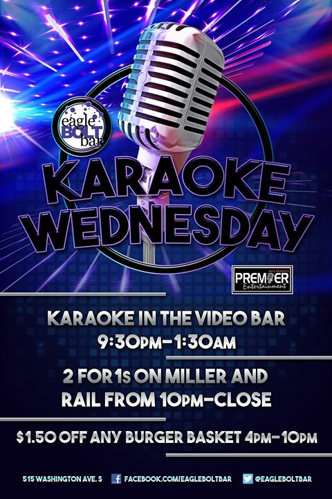 Karaoke Wednesday at the eagleBOLTbar en Minneapolis le mié 26 de junio de 2019 21:30-01:30 (Clubbing Gay)