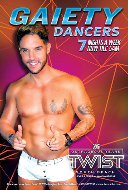 Twist Gaiety Dancers! in Miami le Mon, November 11, 2019 from 10:00 pm to 05:00 am (Clubbing Gay)