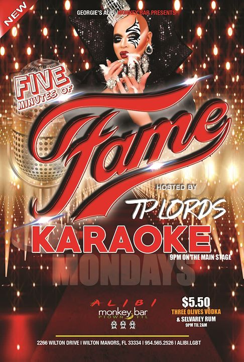 Fame Karaoke Mondays at The Alibi! in Wilton Manors le Mo 29. Juli, 2019 21.00 bis 23.00 (After-Work Gay)
