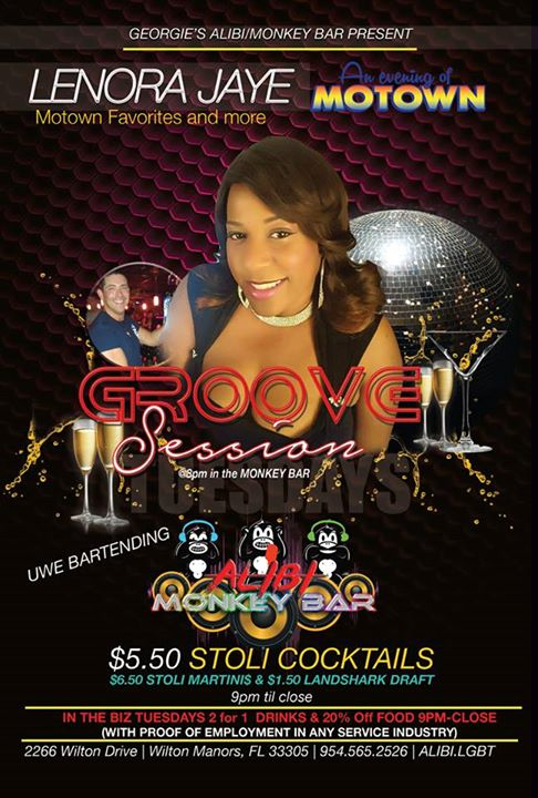 Groove Session with Lenora Jaye! in Wilton Manors le Tue, October  8, 2019 from 08:00 pm to 02:00 am (Clubbing Gay)