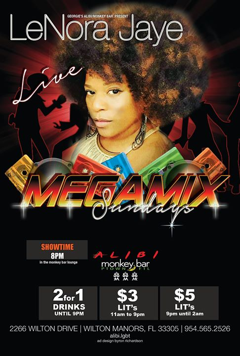 Lenora Jaye Megamix Sundays en Wilton Manors le dom 19 de enero de 2020 19:00-22:00 (After-Work Gay)