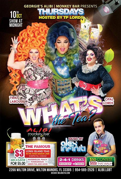 What's the Tea?! Thursdays à Wilton Manors le jeu. 17 octobre 2019 de 23h00 à 02h00 (Clubbing Gay)