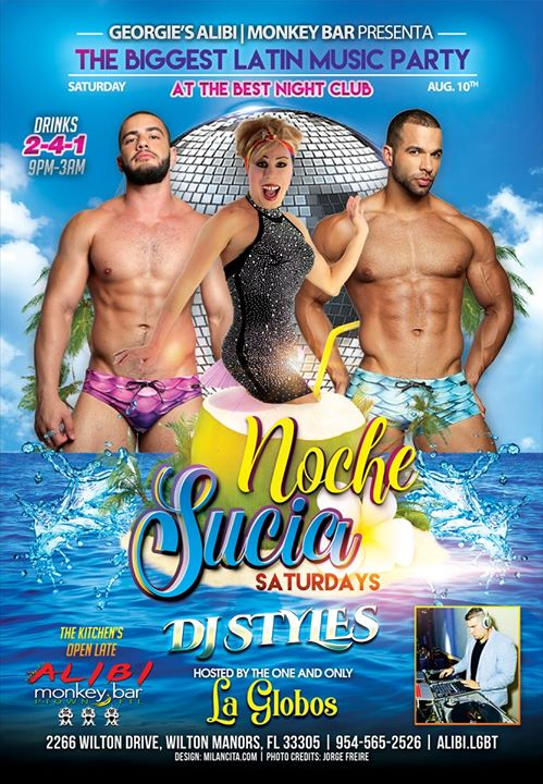 Noche Sucia Saturdays with La Globos à Wilton Manors le sam. 10 août 2019 de 21h00 à 03h00 (Clubbing Gay)