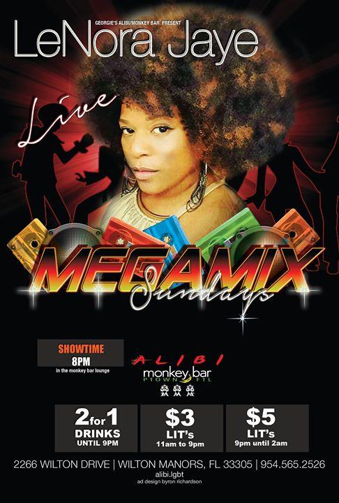 Lenora Jaye Megamix Sundays à Wilton Manors le dim. 12 janvier 2020 de 19h00 à 22h00 (After-Work Gay)