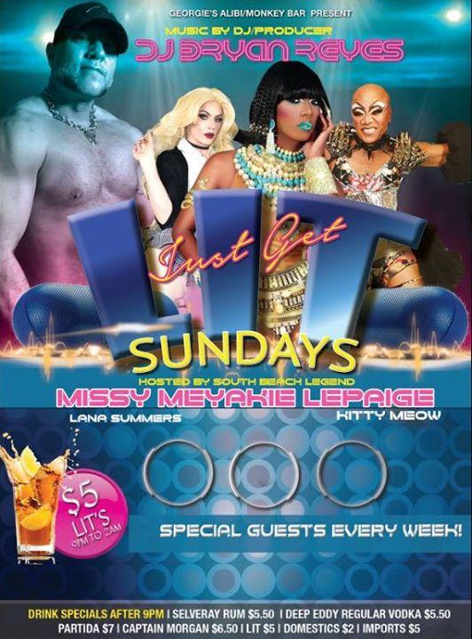 Get LIT Sundays at The Alibi! em Wilton Manors le dom,  1 setembro 2019 23:30-02:00 (Clubbing Gay)