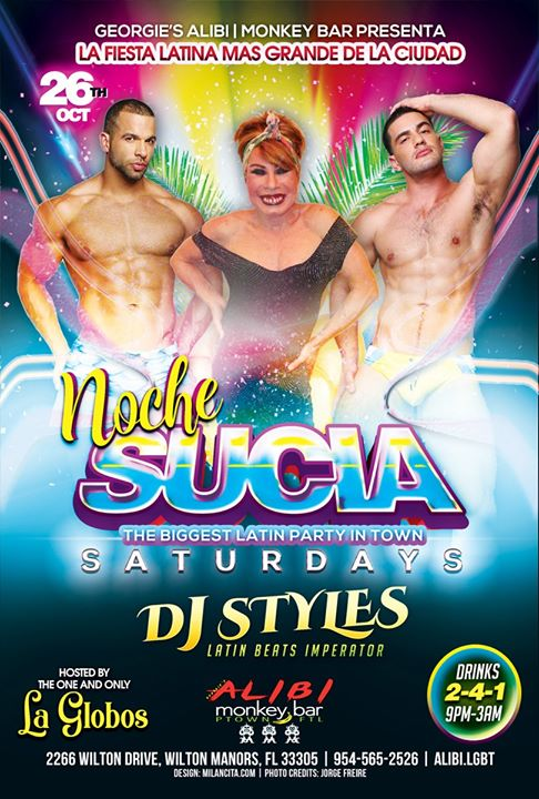 Noche Sucia Saturdays with La Globos à Wilton Manors le sam. 26 octobre 2019 de 21h00 à 03h00 (Clubbing Gay)