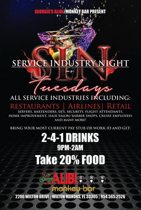 Service Industry Night à Wilton Manors le mar.  6 août 2019 de 17h00 à 02h00 (Clubbing Gay)