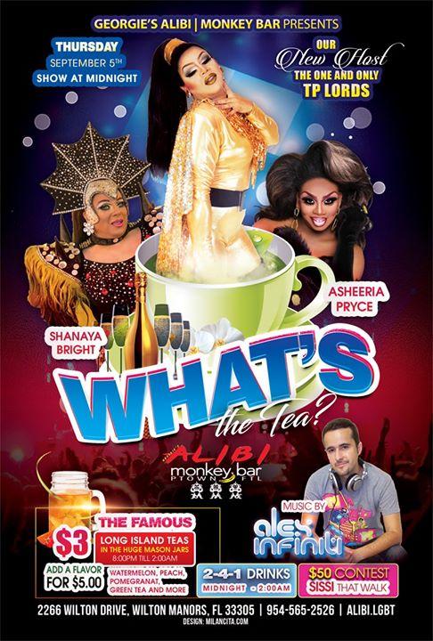 What's the Tea?! Thursdays à Wilton Manors le jeu. 12 septembre 2019 de 23h00 à 02h00 (Clubbing Gay)